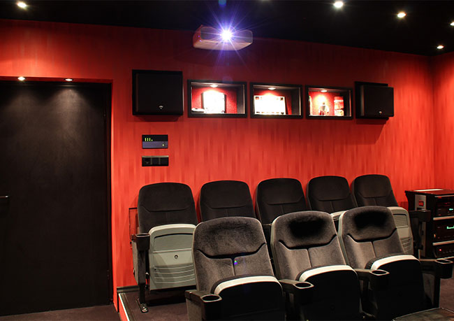 photo of a large home theatre room