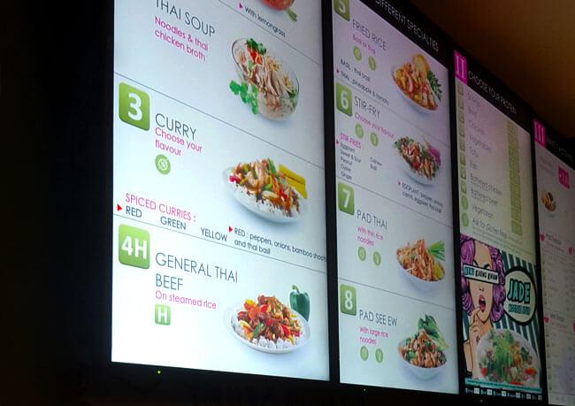 photo of digital menu boards, installed in Edmonton by Innovative