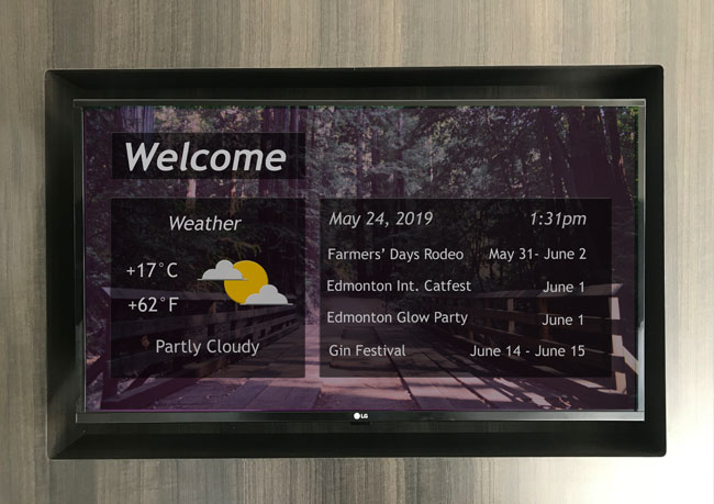 photo of digital signage for hospitality customer