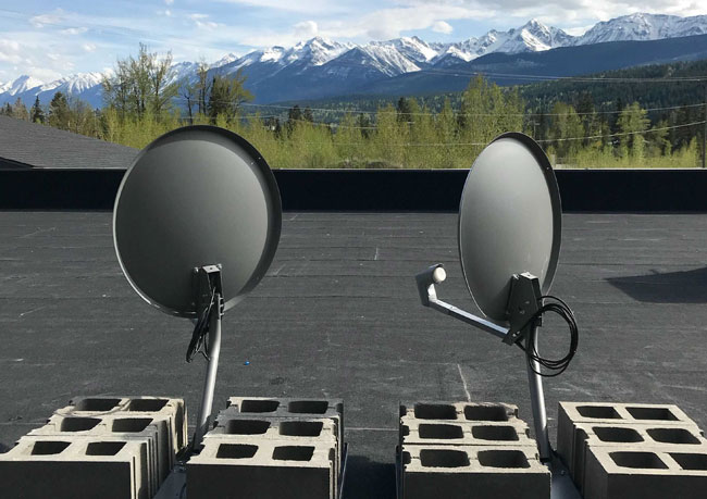 photo of satellite installed on rooftop in Alberta